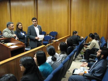 Students at a mock trial