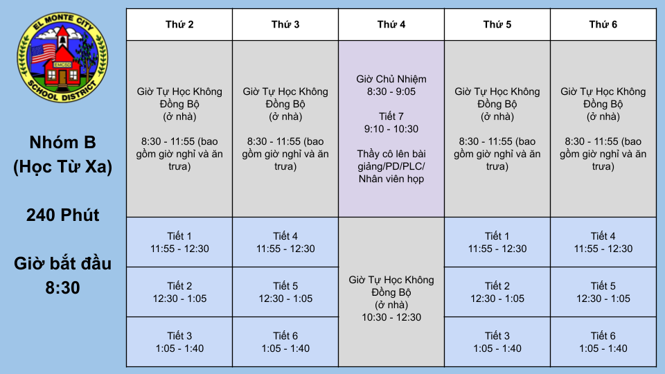 7th and 8th Grade Group B Schedule VIETNAMESE