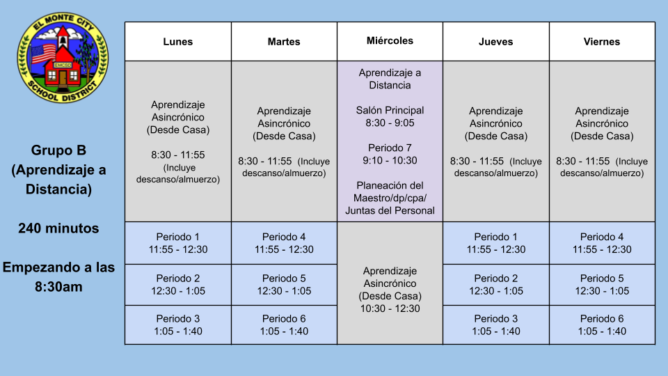 Group B Distance Learning 7th & 8th Schedule - SPANISH