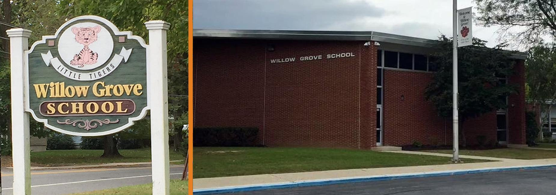 Willow Grove Street Sign/Willow Grove School Building