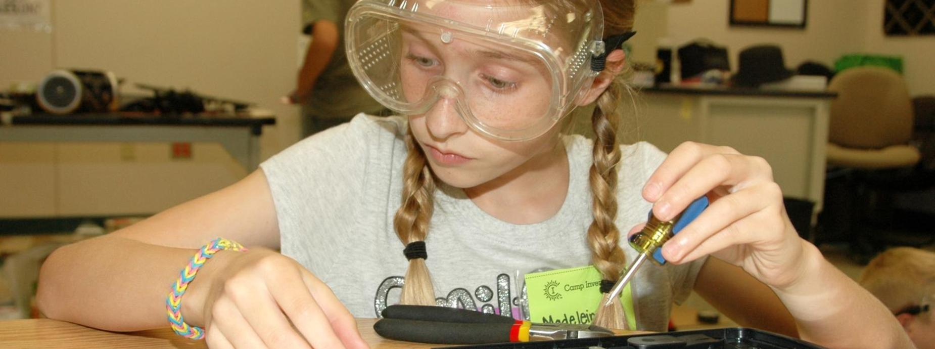 Student doing Science Experiment