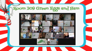 Zoom class holding green eggs and ham drawings