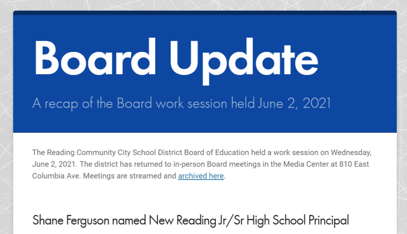 Front page of the Board Update for June 2.
