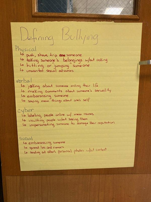 what defines bullying - student created poster
