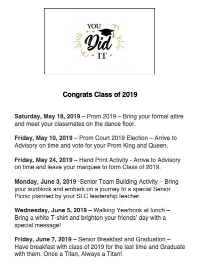 senior announcements