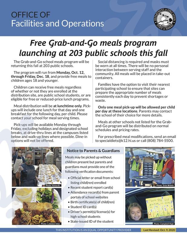 Free Grab and Go meals program launching at 203 public schools this fall