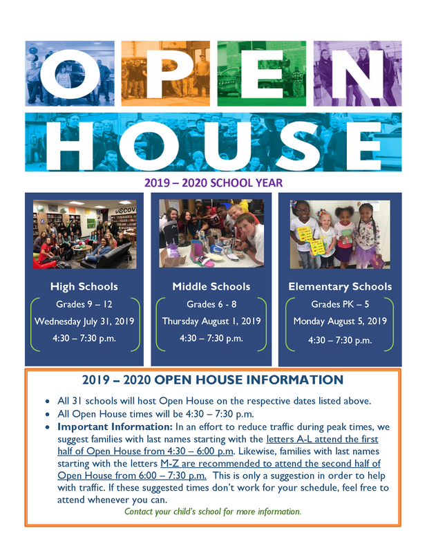 Dates and times for Open House