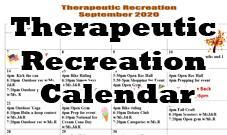 Theraputic Recreation Calendar