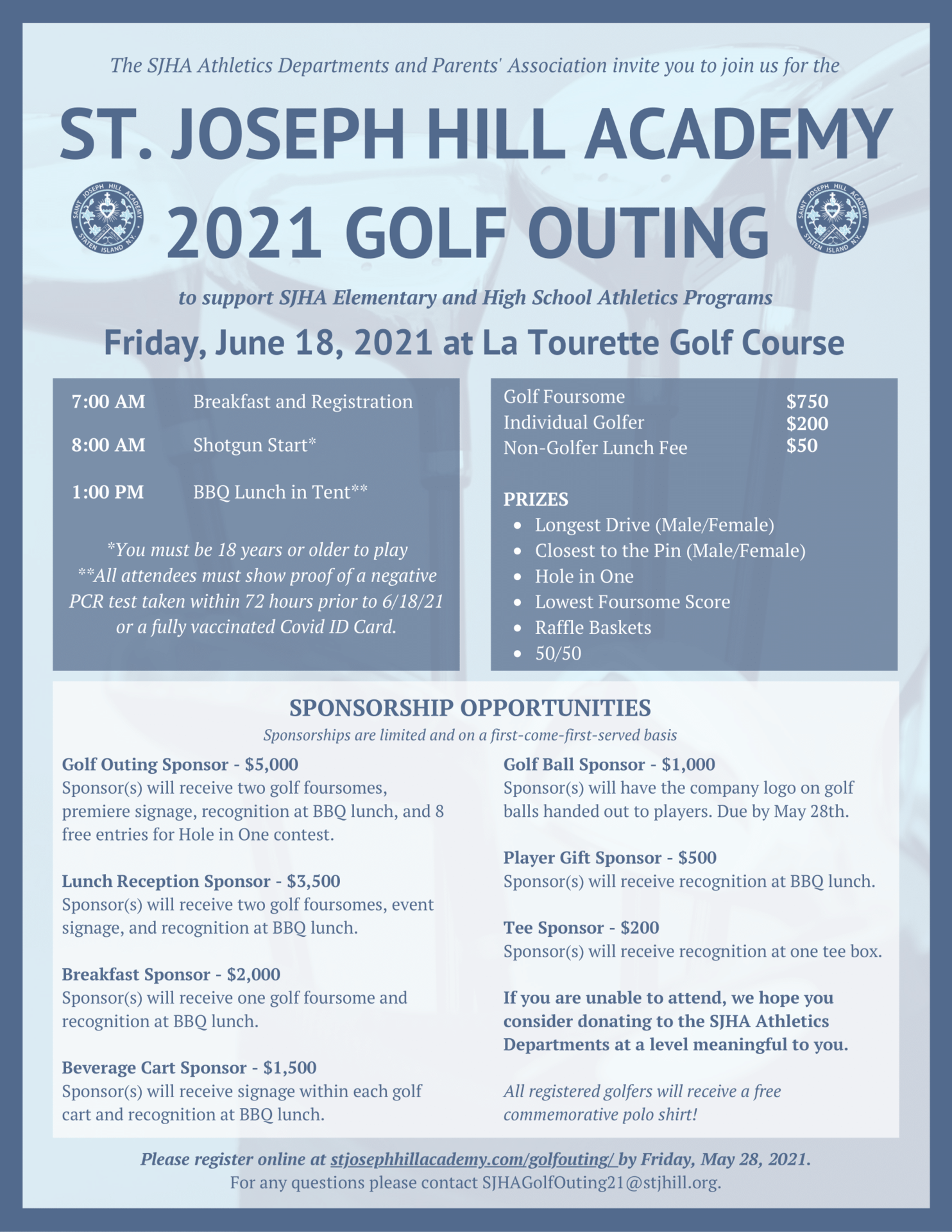 June 18 is the SJHA Golf Outing