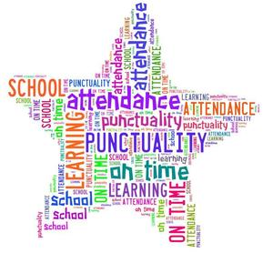 Star shape using words about school attendance