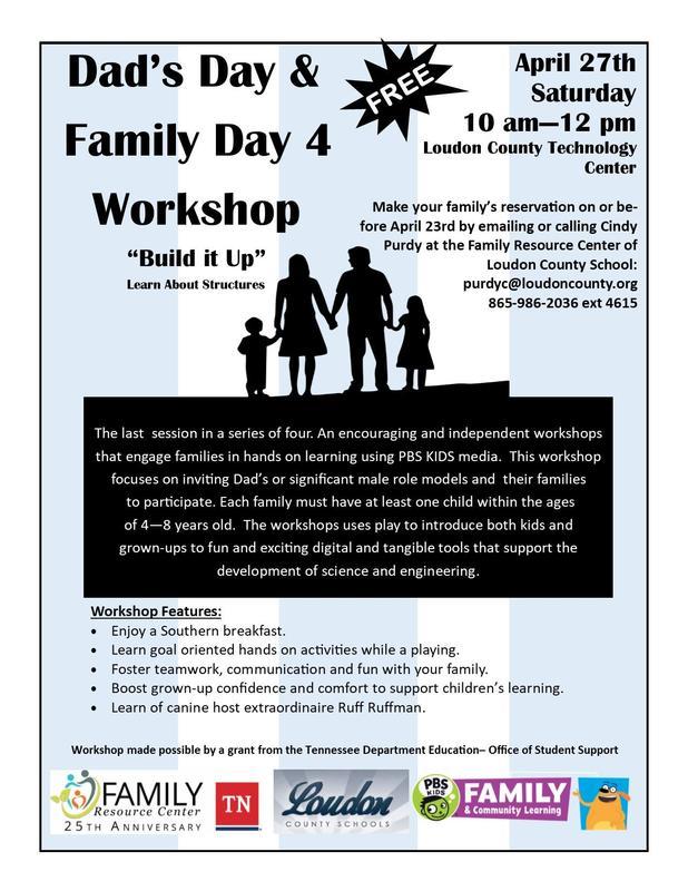 Dad Day Family Workshop flyer