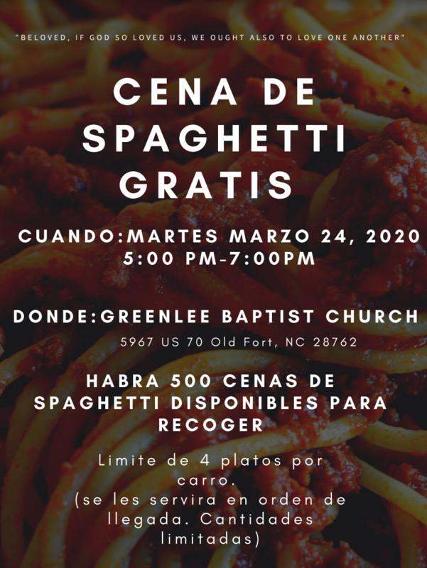 Spaghetti Dinner Spanish Flyer