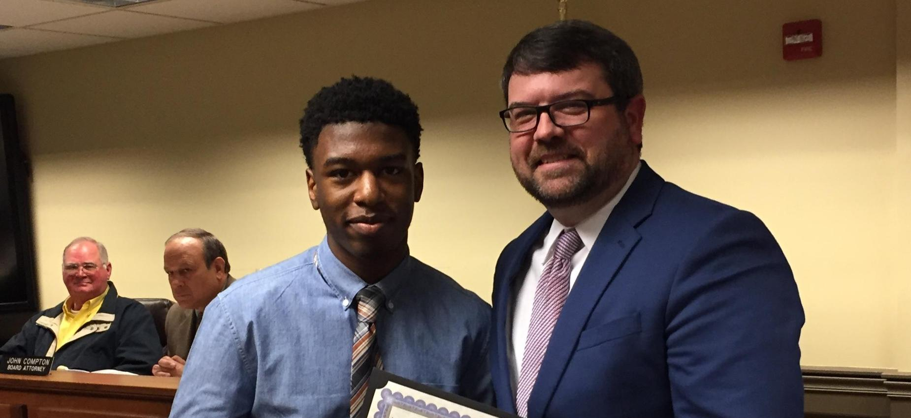 Picture of Middle School CTE Student of the Month and Superintendent