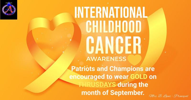 September is National Childhood Cancer Awareness Month. Our Patriots and Champions are encouraged to wear gold on Thursdays during the month of September as we work together to bring awareness to the ongoing battle to beat childhood cancer. Featured Photo
