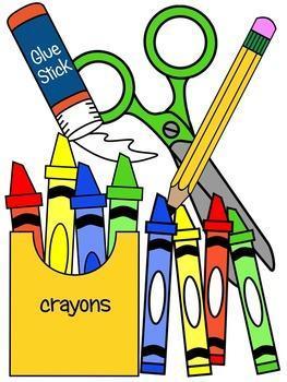 Clipart of school supplies.