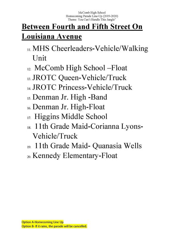 McComb High School Homecoming Parade Line-Up 2019-2020 Featured Photo