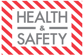 health and safety text with red and white border