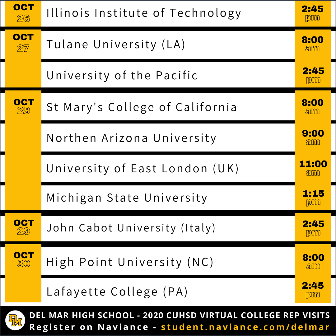 list of college rep visits oct 26 to 30, 2020