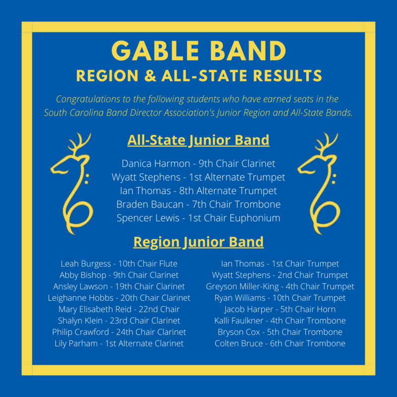 SC All State & Region 6 Band Students
