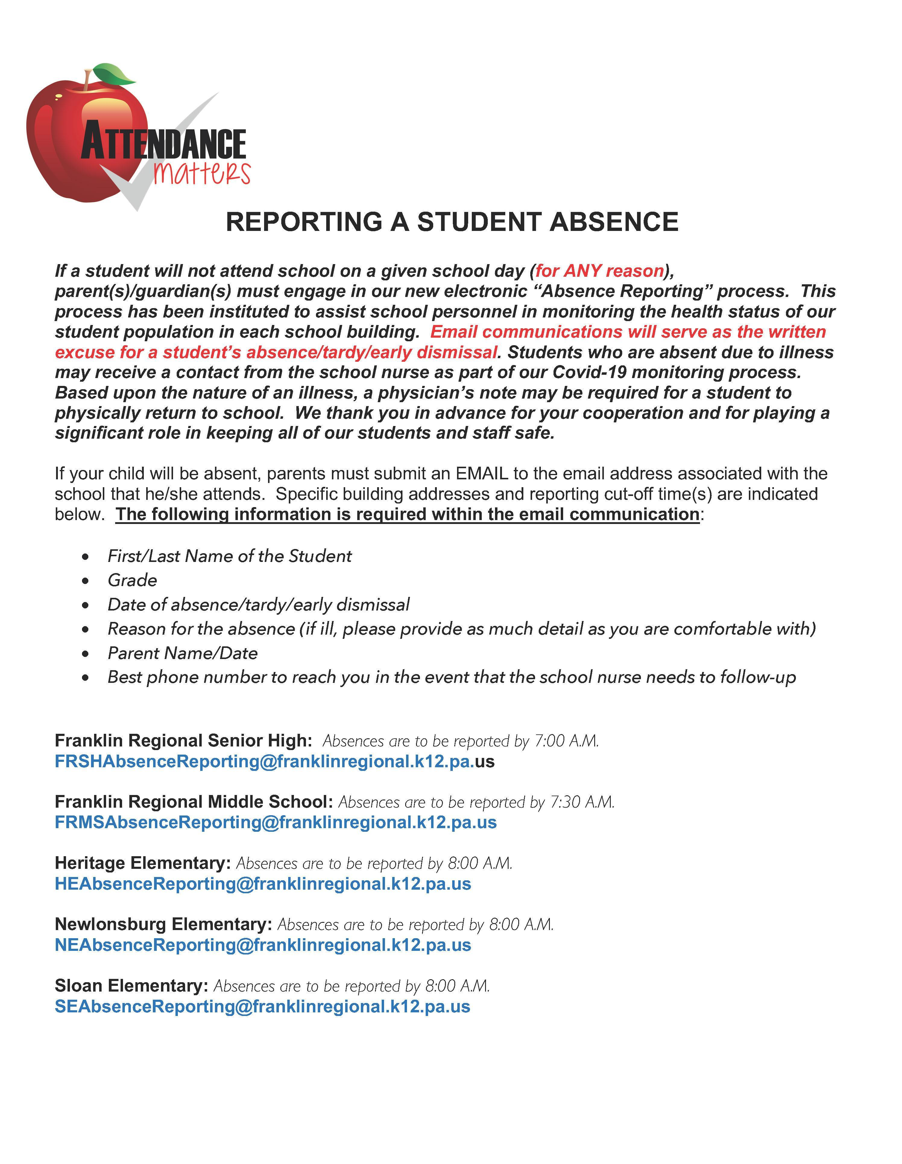 Reporting Student Absences 2020-21