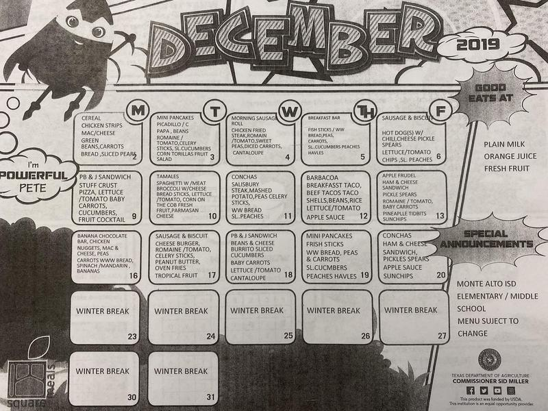 December breakfast and lunch menu Featured Photo