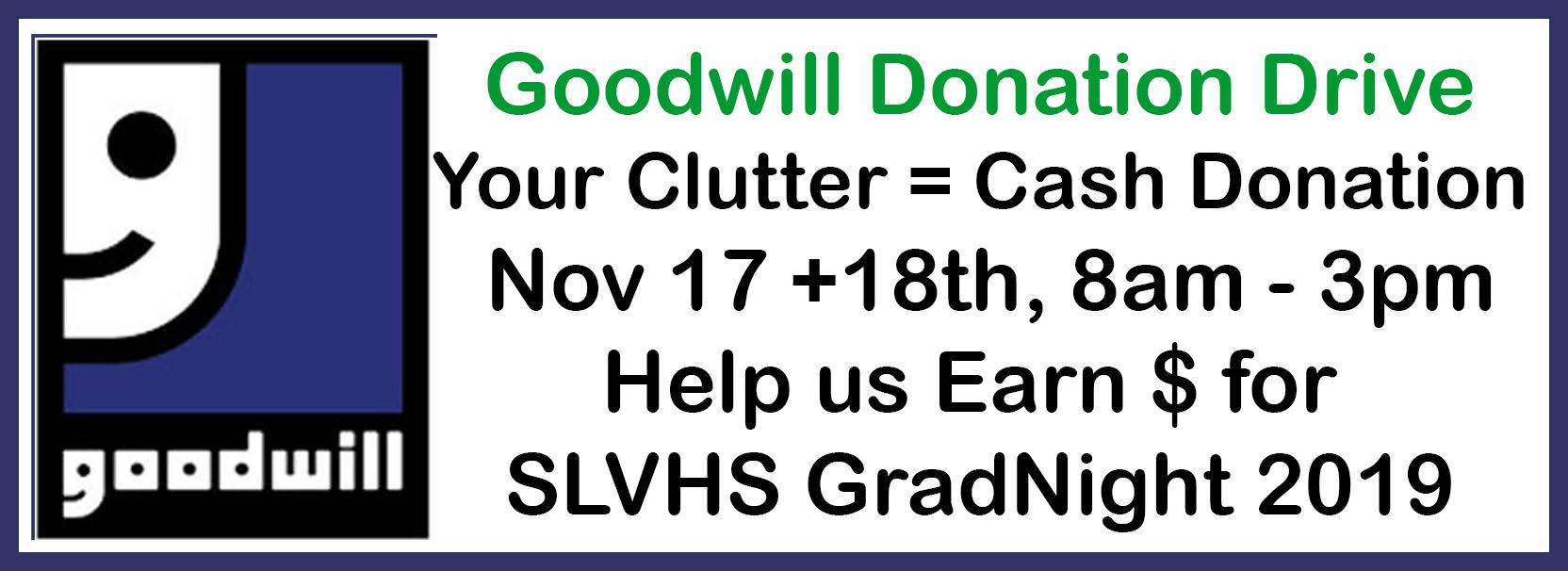 Goodwill Donation Drive Nov. 17-18