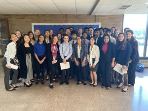 30 Bensalem High School students, dressed to impress, who participated in the PJAS Regional competition