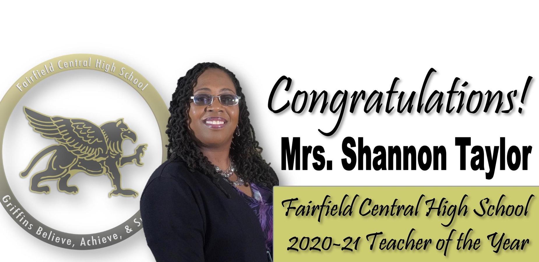Congratulations Mrs. Shannon Taylor FCHS 2020-21 Teacher of the Year