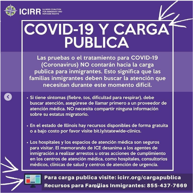 ICIIR Spanish Graphic Containing the above information as listed previously with white writing on a purple background