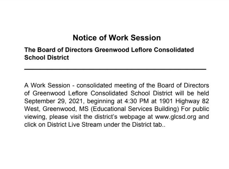 Notice of Work Session Featured Photo