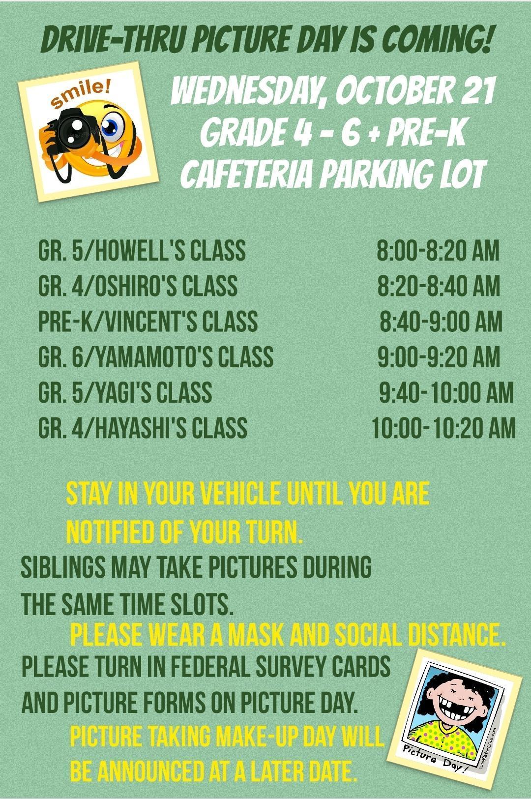 Grades 4-6 + Pre-K Picture Day Schedule