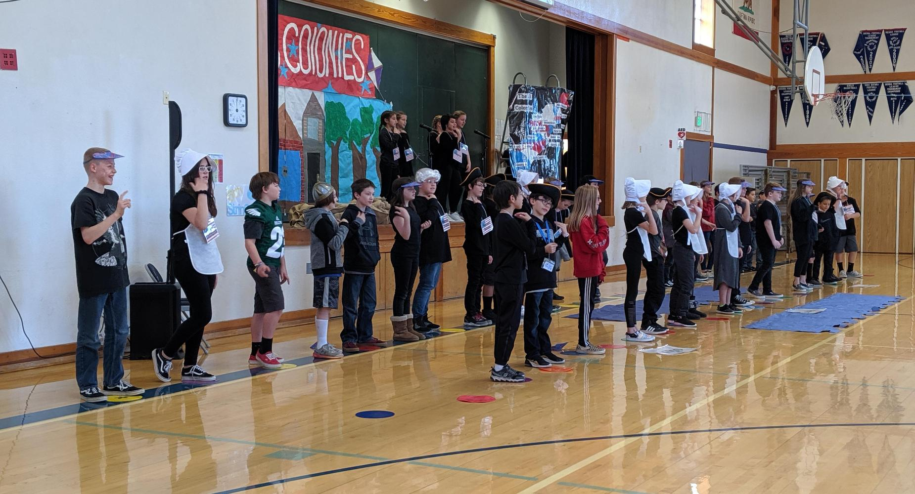 Student's singing in the gym
