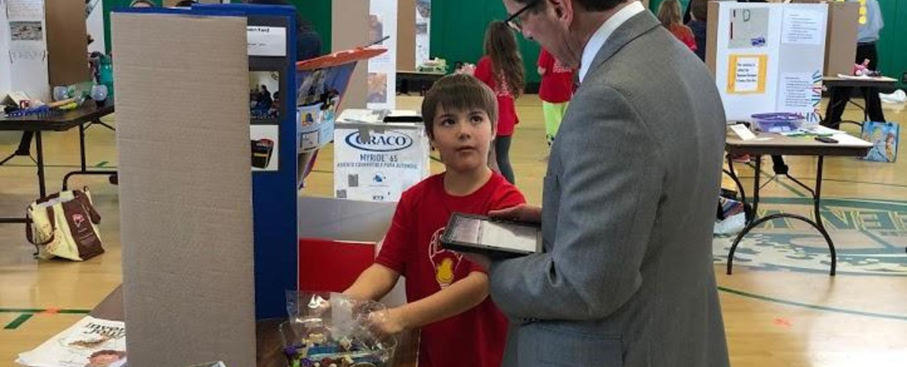 Young Inventors NH Commissioner of Education Frank Edelblut Judging