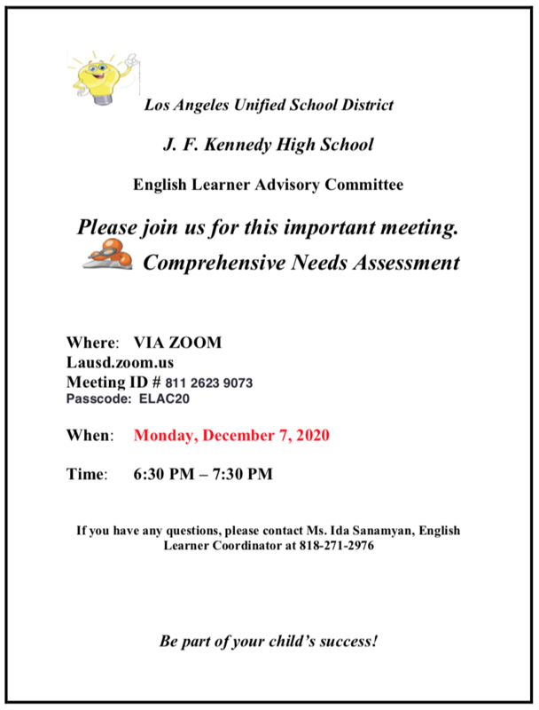 ELAC Comprehensive Needs Assessment Meeting Featured Photo