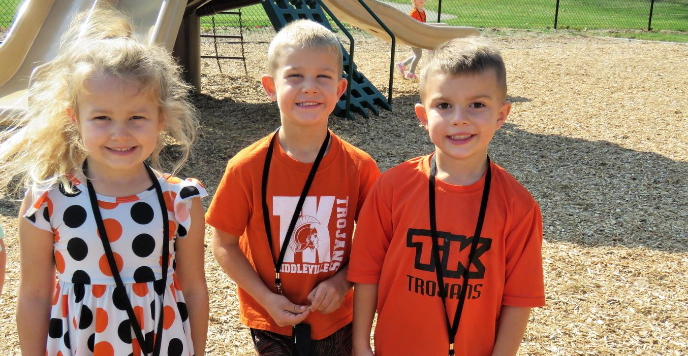 McFall students proudly show their TK spirit with their orange and black attire.