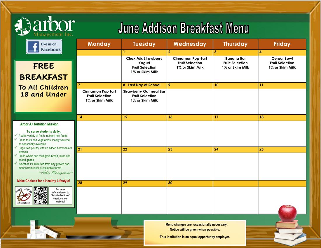 June breakfast menu
