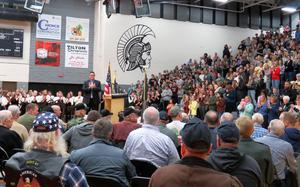 TKHS students and guests give veterans a standing ovation.
