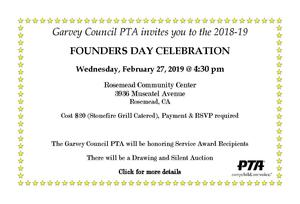 Garvey Council PTA Founders Day Information
