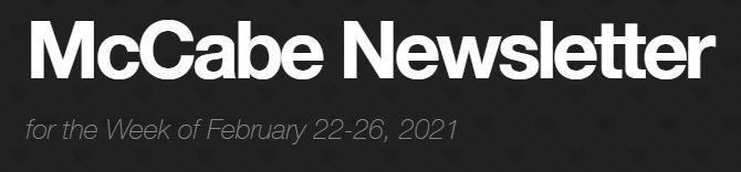 Newsletter for Week of February 22-26, 2021 Thumbnail Image
