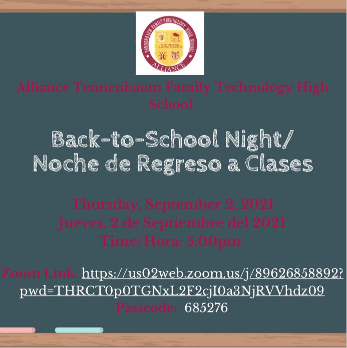 Back to School Night/Noche de Regreso a Clases Thumbnail Image
