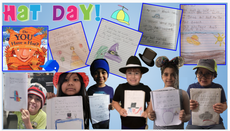 Students wearing hats and hat description collage