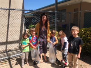 Dr. Kelly with kindergartners