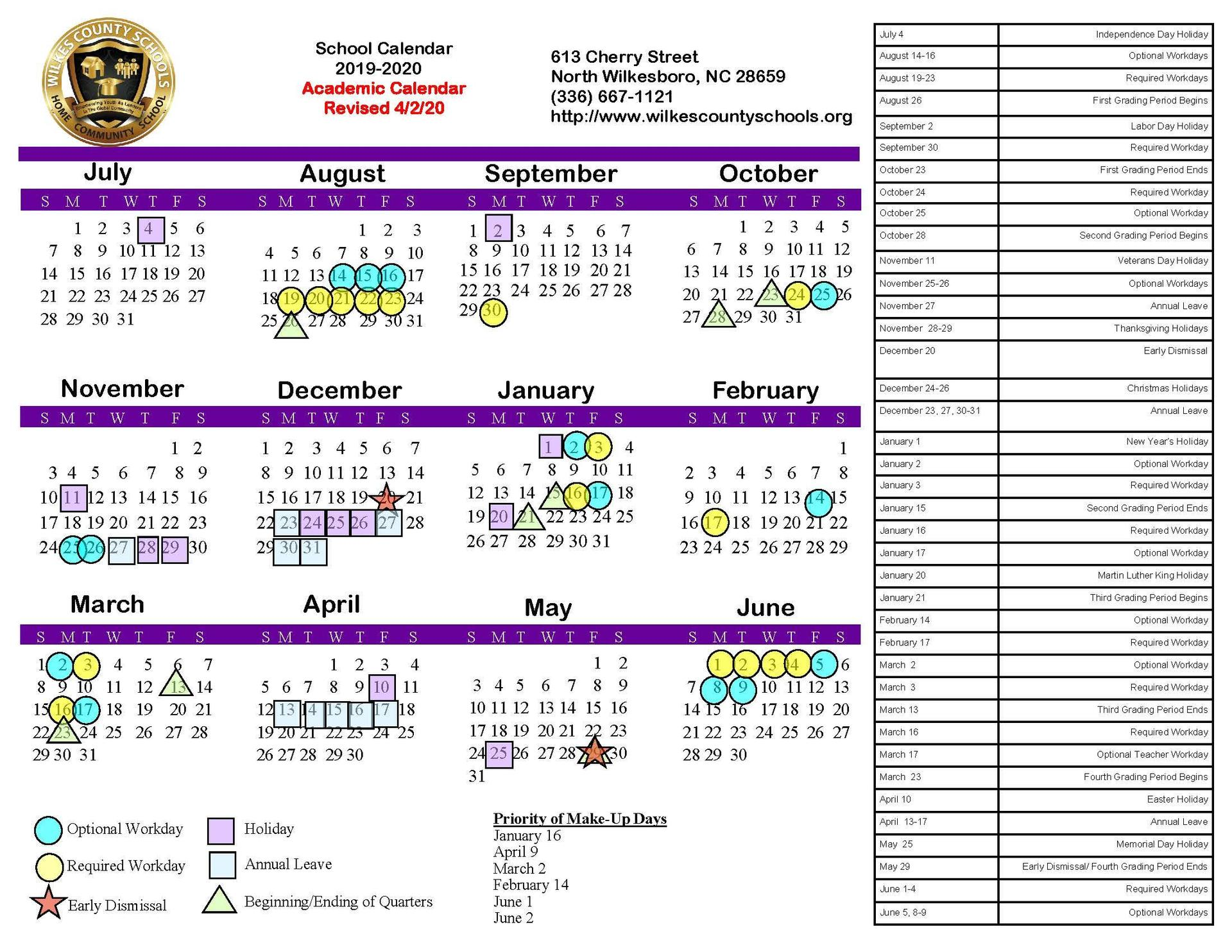 2019-20 Board-Approved Regular Academic Calendar
