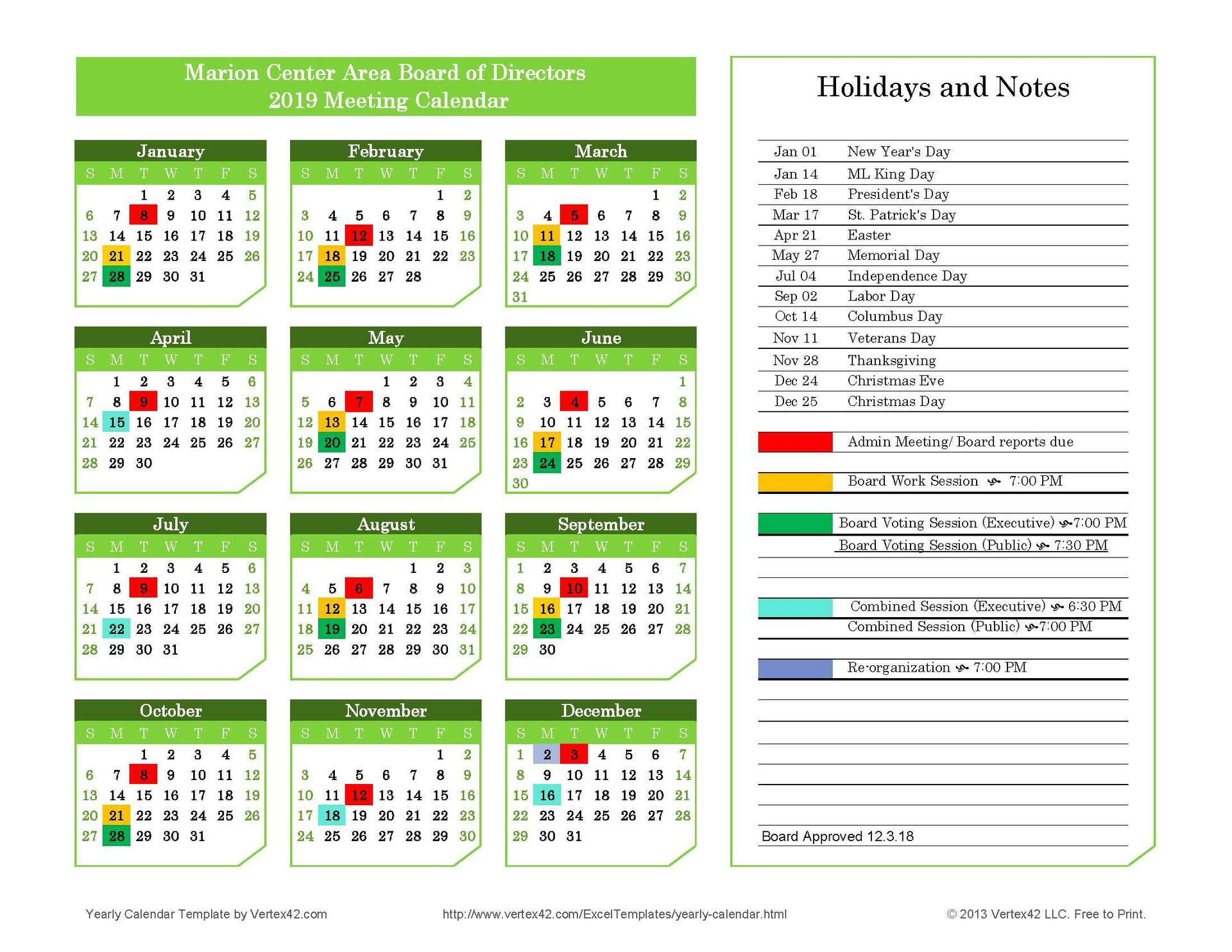 Board Meeting Calendar