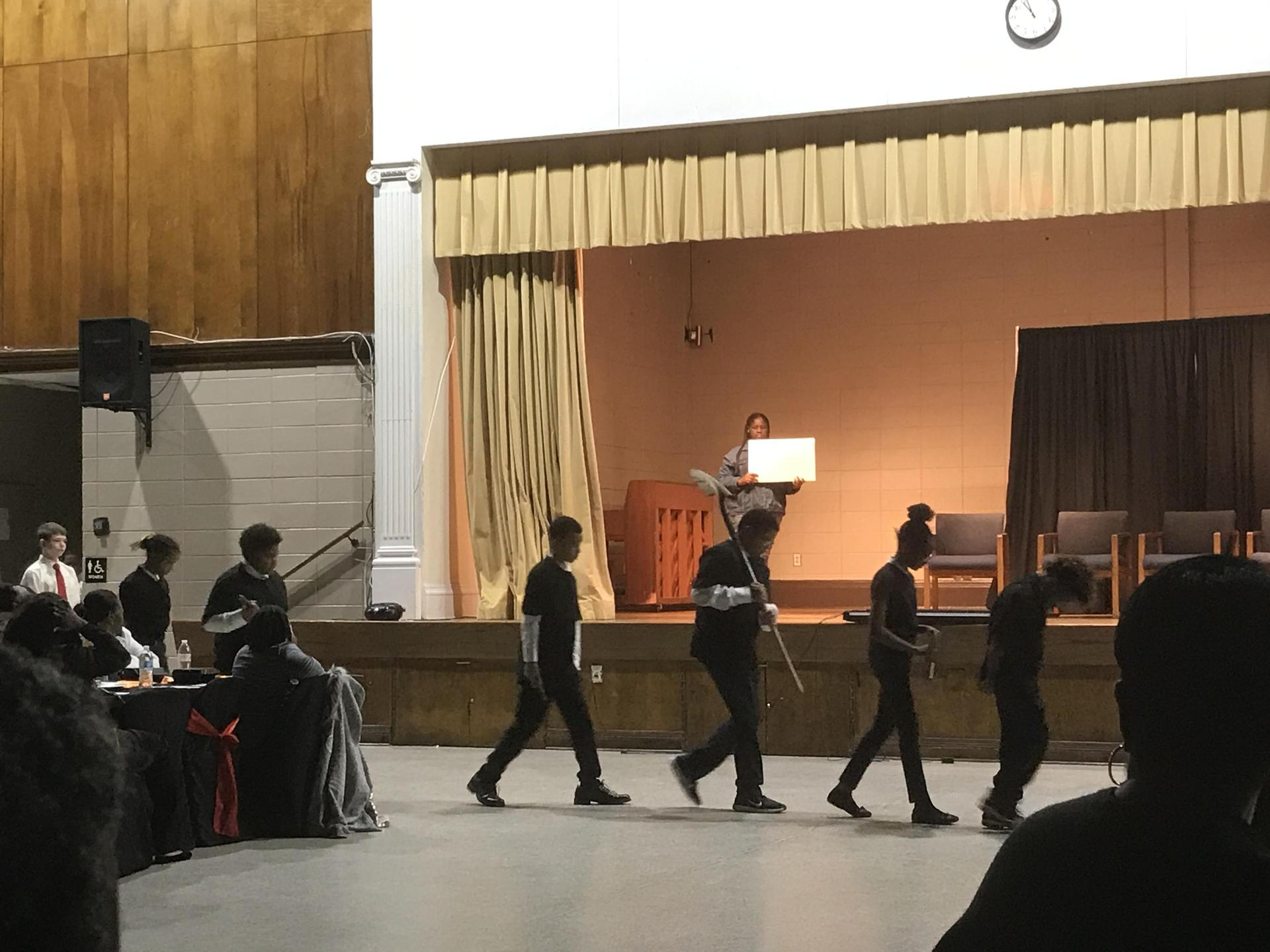 A Photo of PRAMS Students Performing at the Baker Community 2020 MLK Program