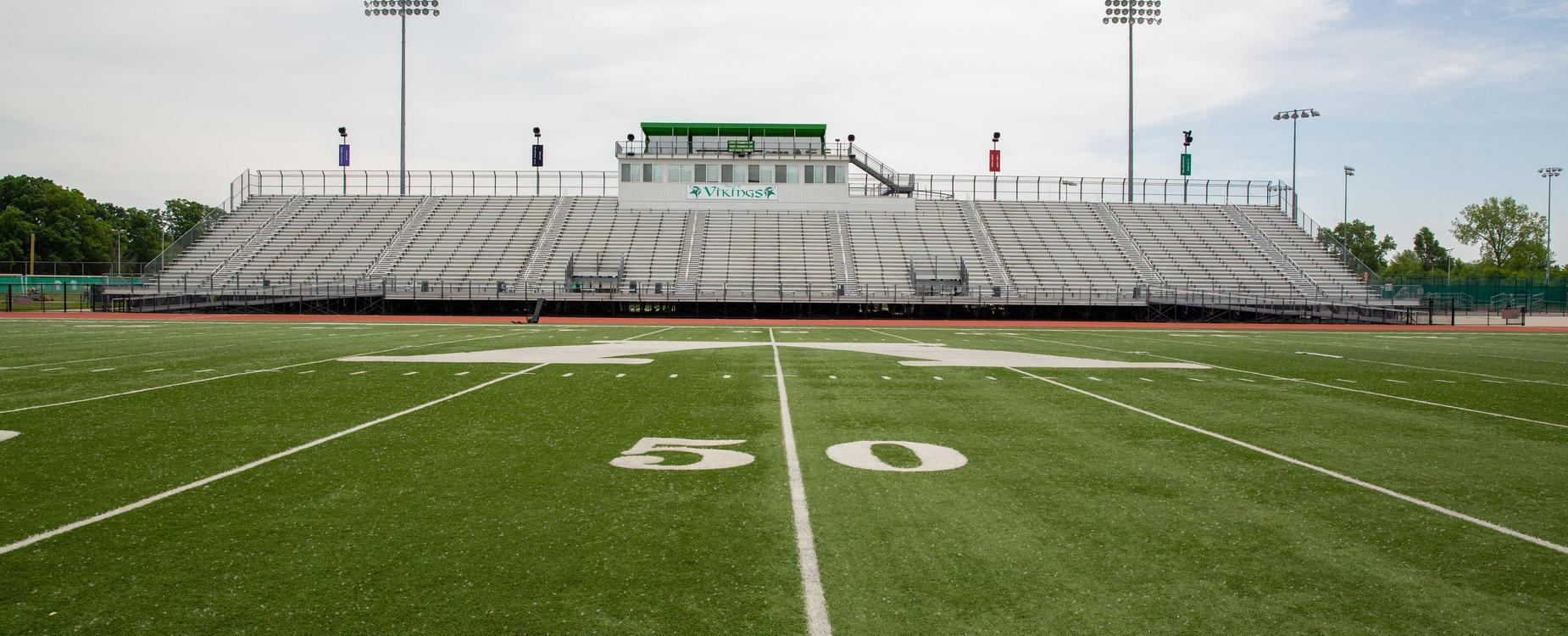 Viking Football Field 50 yard line and home bleachers