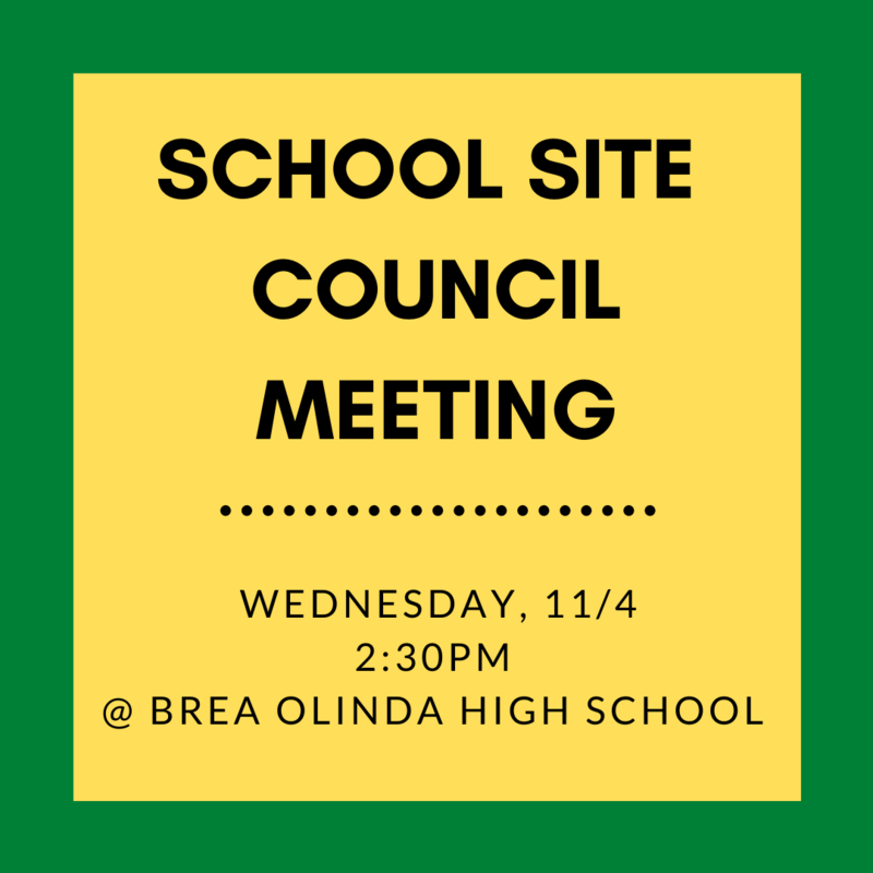 School Site Council Meeting 11/4