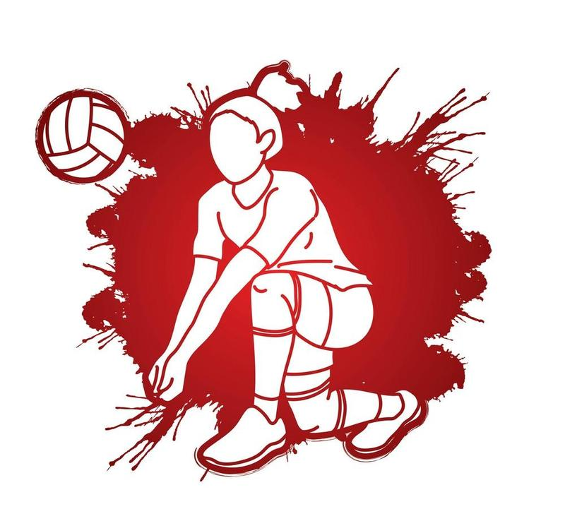 A graphic of a woman volleyball athlete, white silouette with red background