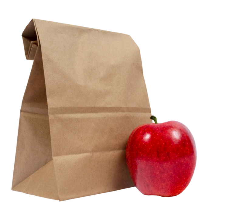 lunch bag and apple