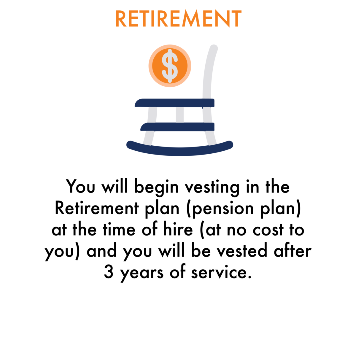 Retirement:  You will begin vesting in the Retirement plan (pension plan) at the time of hire (at no cost to you) and you will be vested after 3 years of service.